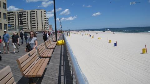 Long Beach, on Long Island, as you look along the boardwalk.