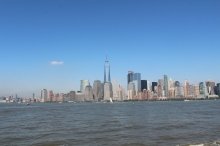View from Liberty Park. Just a touch of smog hovering over the NYC skyline.