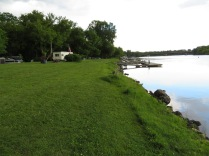 Looking down the shoreline of Mohawk River at the RV park.
