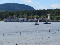 They do shoreline cruises here at Lake George, a very busy boating lake during the short season.