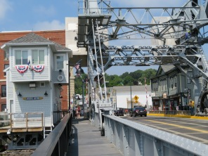 Looking down Main St. through the Mystic River drawbridge.