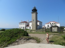 Beavertail Lighthouse. With a cute babe standing in the forefront...