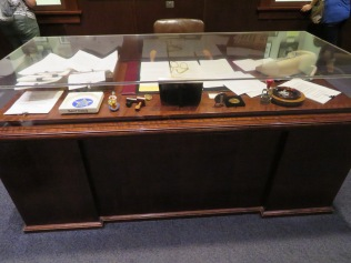 This is a replica of Bobby Kennedy's desk. Why? This is supposed to be about JFK.