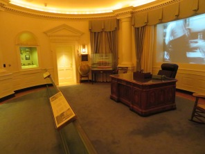 I was even disappointed in the Oval Office display. Like a lot of the displays, they put up video screens and played video footage which I could have done without. And most of the other libraries with Oval Office recreations are accurate, if not actual, replications. Here they even left out the flags behind the Presidential desk.