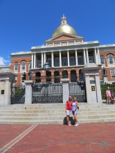 Jeanne and Denise at the Massachusetts State House. Our trolley driver said the mayor lives here.