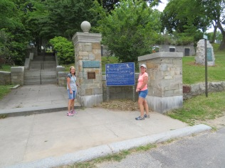 Jeanne and Denise about to enter Burial Hill.