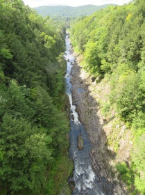 A view down the Quechee Gorge from the highway bridge.