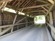 The interior structure of the Red Covered Bridge.