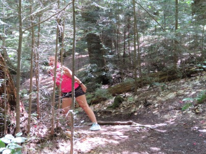 Jeanne loves to clown around on the trails, this one to Sterling Gorge.