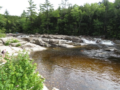 Lower Falls is a very popular swimming hole. Here it is early in the day.