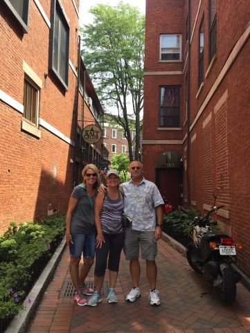 We three amigos checking out some shops in the alley, Portsmouth, NH.