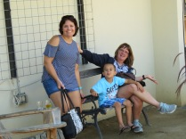 Mommy, Max, and Oma fooling around while waiting for the tour.