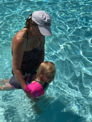 Hailey and her Oma swimming the heated pool at the Petaluma KOA.