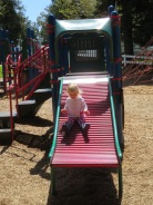 The slide pro, Miss Hailey, on the roller slide.